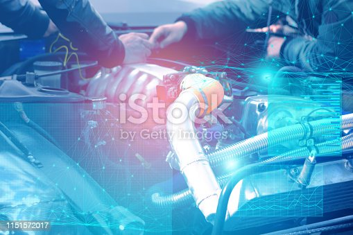 1150202730 istock photo checking and diagnostics of the engine and electrics of the car at the service center with the display of augmented reality and solving problems by artificial intelligence 1151572017