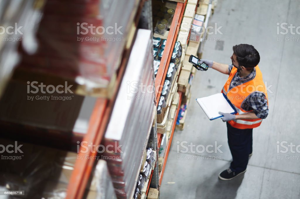 Checking barcodes stock photo