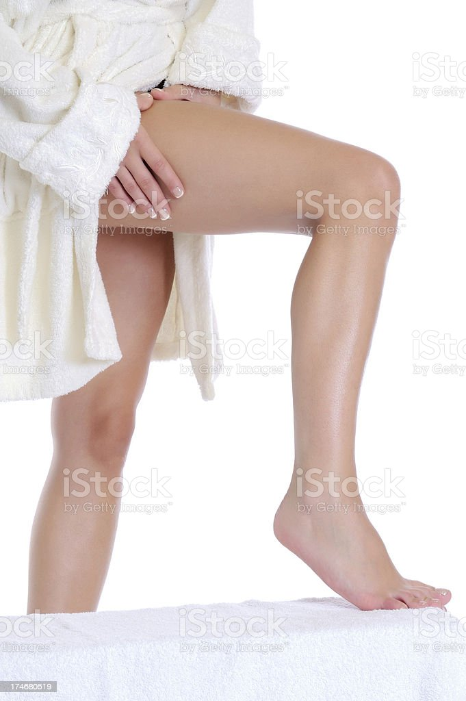 Checking cellulite stock photo