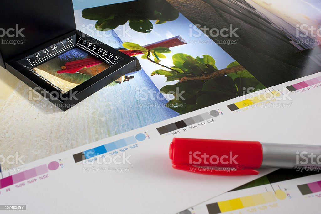 Checking colour proofs. stock photo