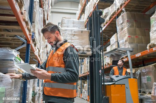 istock Checking delivery palet in warehouse 613653906