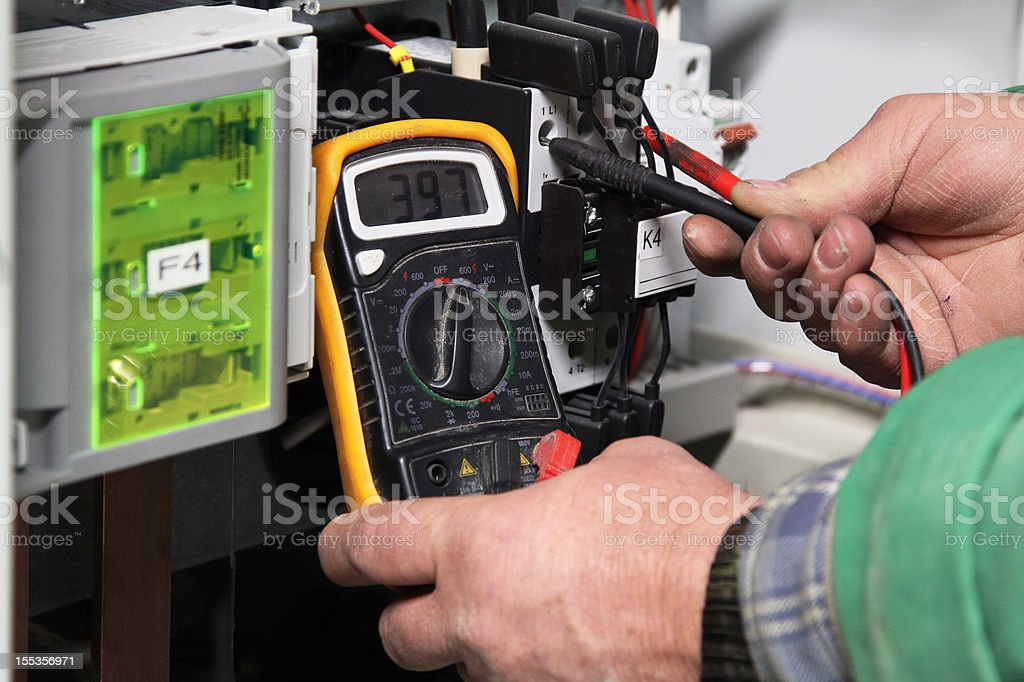 Checking electric potential stock photo