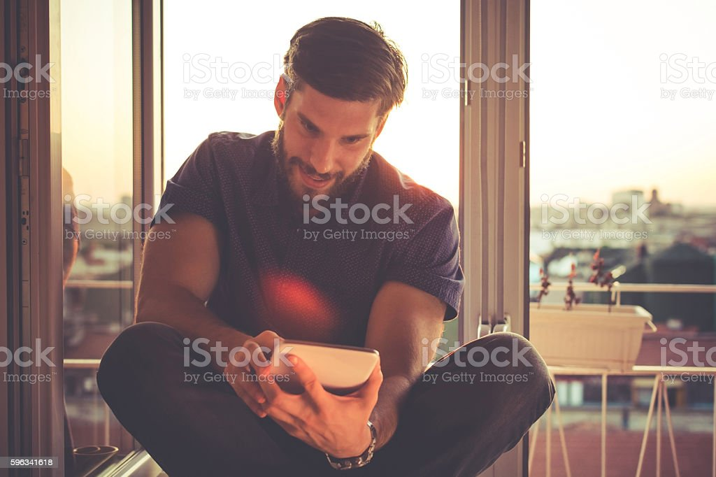 Checking E-mail In The Morning royalty-free stock photo