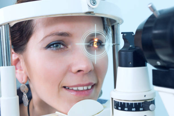 Checking eyesight in a clinic of the future stock photo