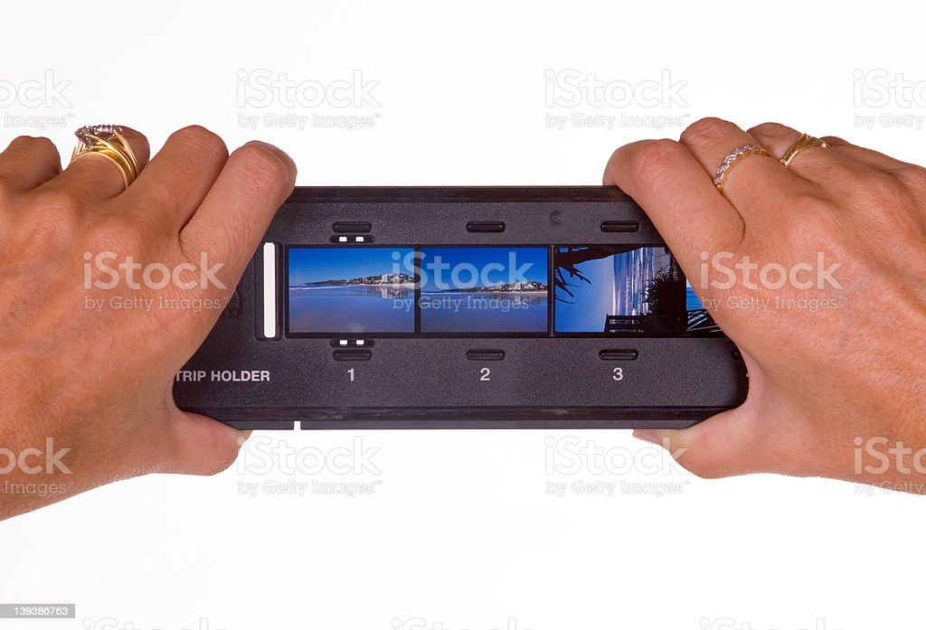Checking filmstrip stock photo