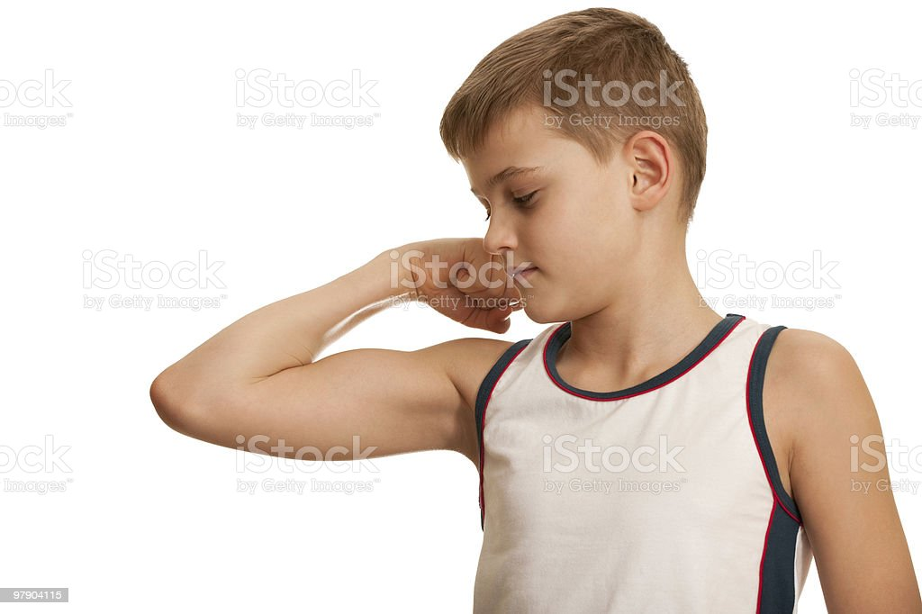 Checking fitness results royalty-free stock photo