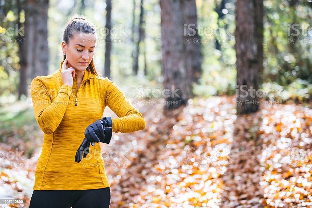Checking Her Heart Rate stock photo
