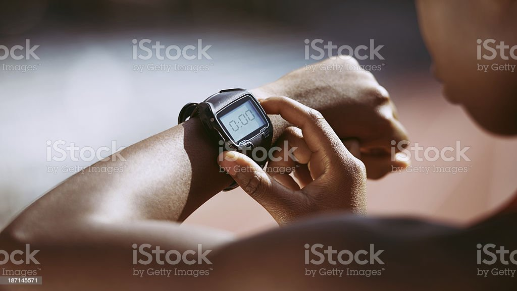 Checking her time stock photo