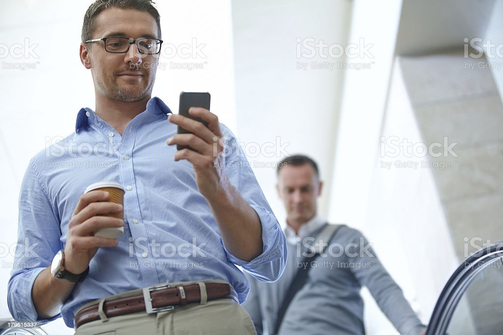 Checking his texts royalty-free stock photo