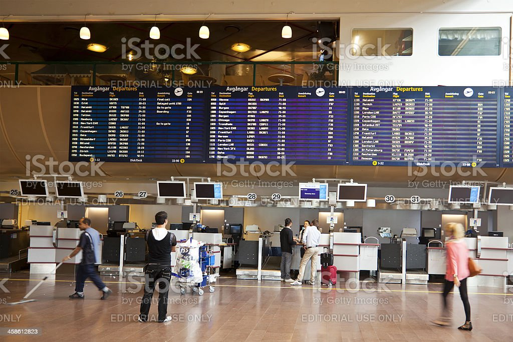 Checking in at Arlanda Airport, Stockholm, Sweden royalty-free stock photo