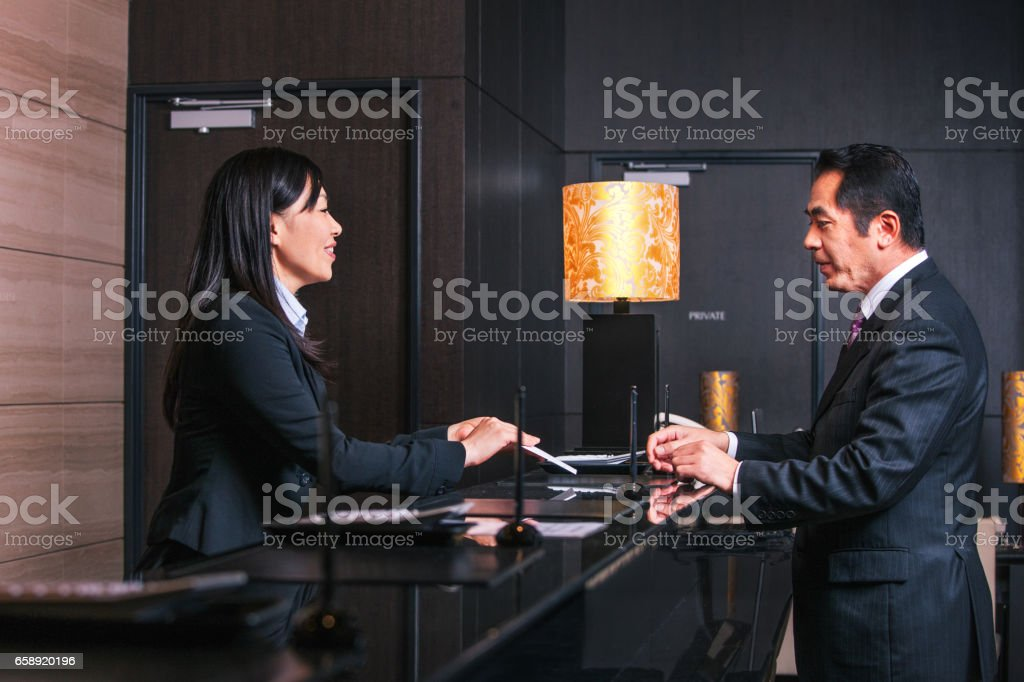 Checking in stock photo