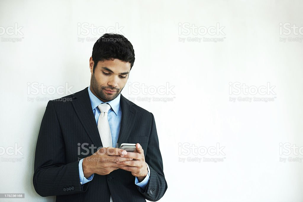 Checking in with the office! royalty-free stock photo