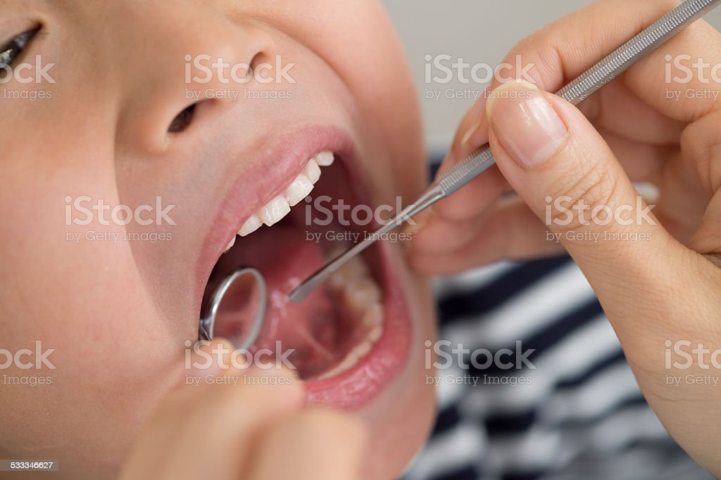 Checking mouth stock photo