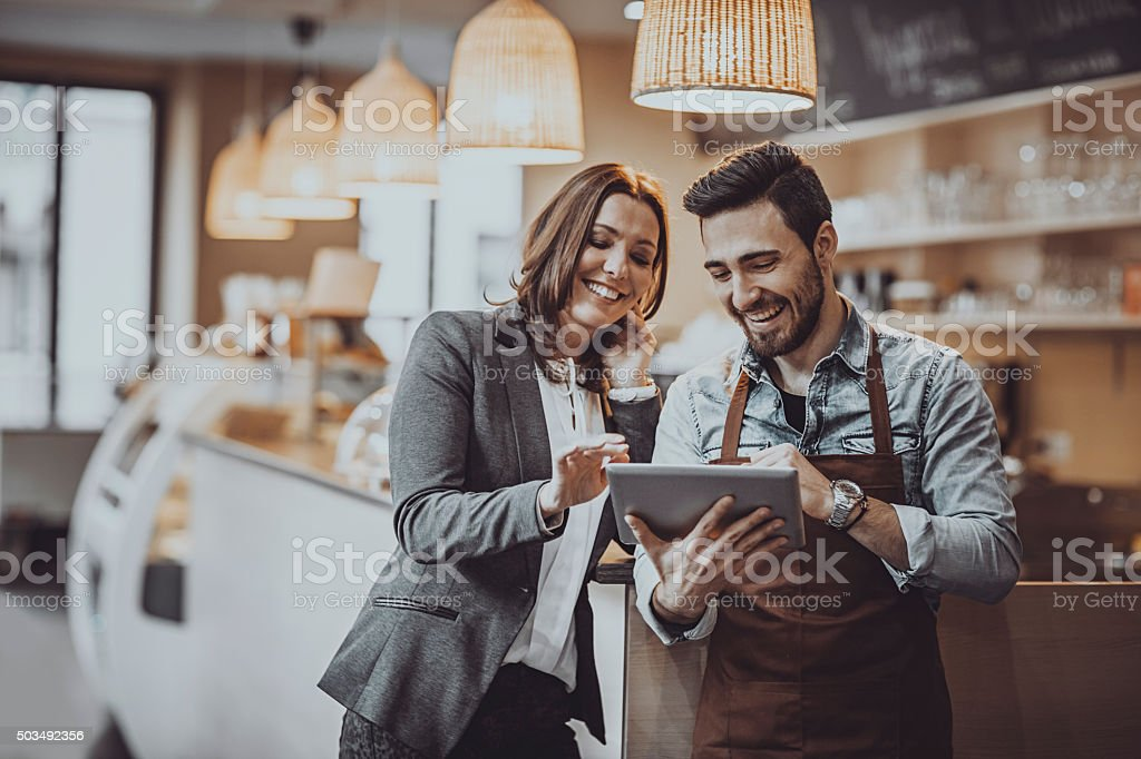 Checking new  menu stock photo