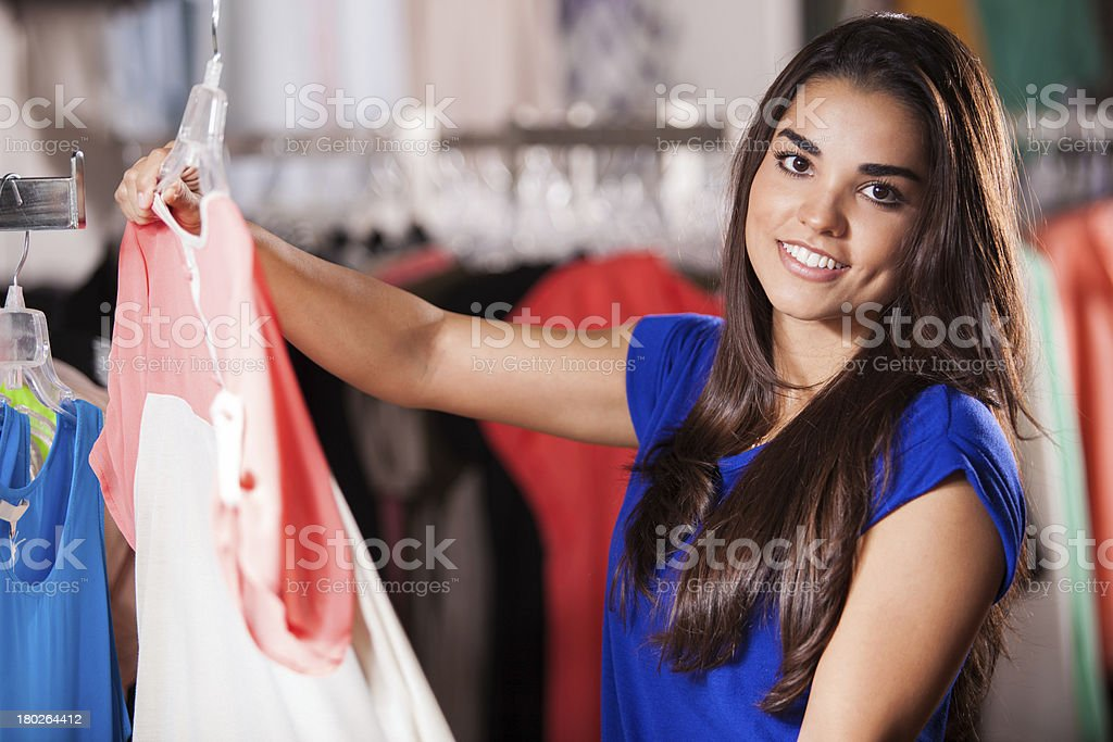 Checking out some clothes royalty-free stock photo
