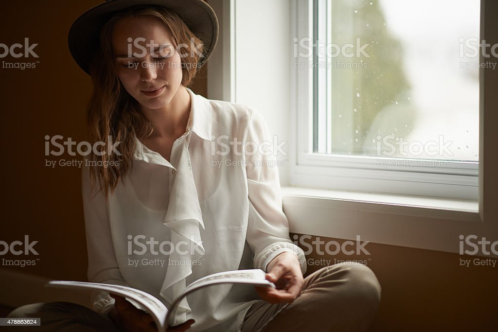 Checking out the latest articles stock photo