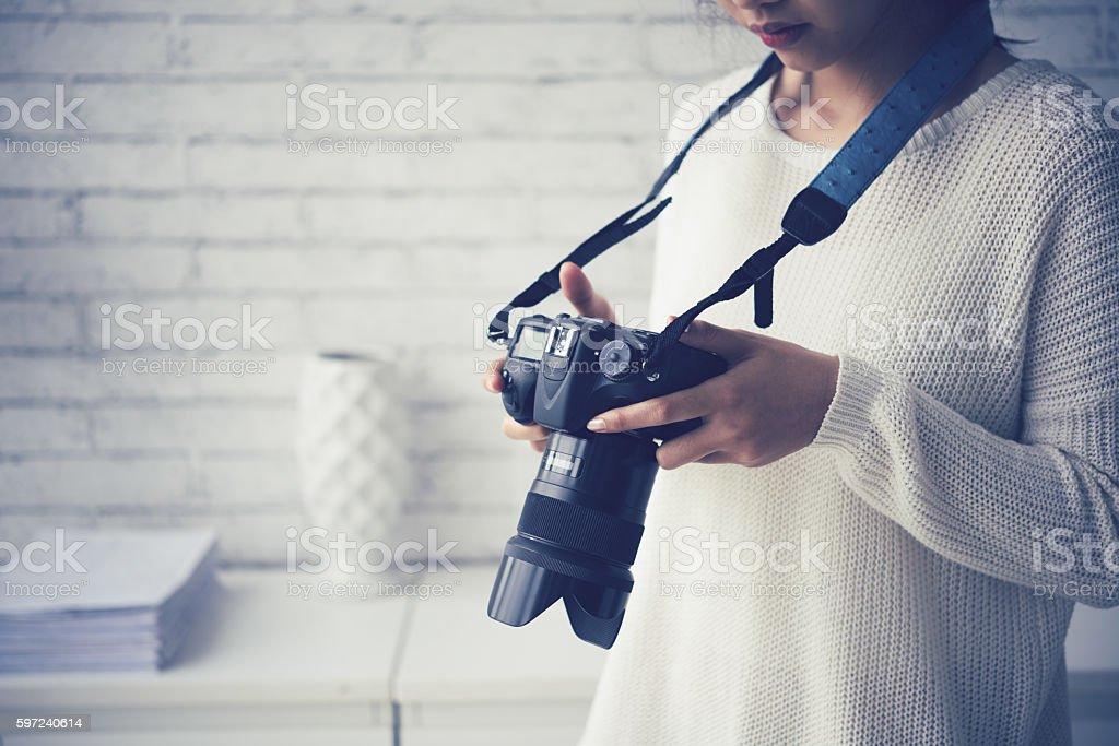 Checking photos stock photo