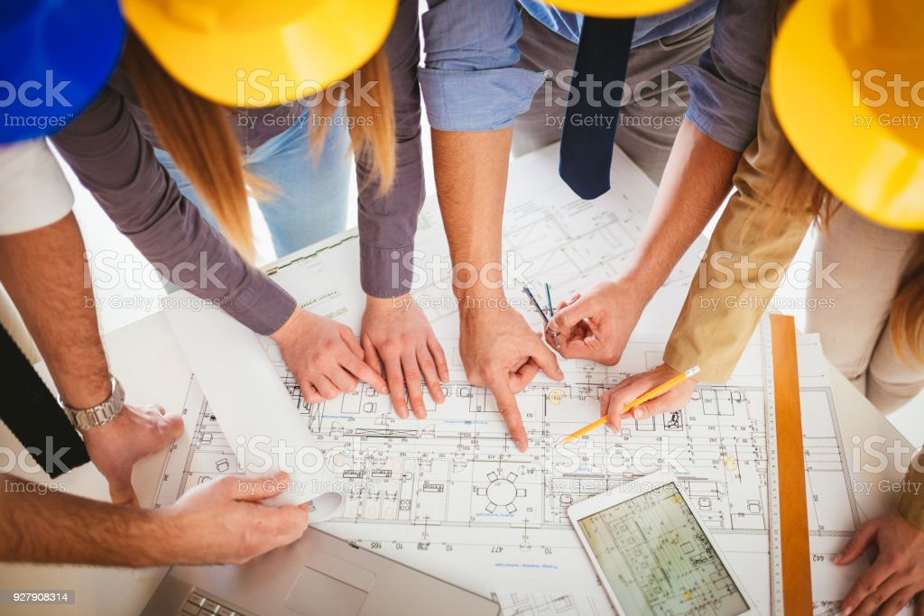 Checking Plan Project stock photo