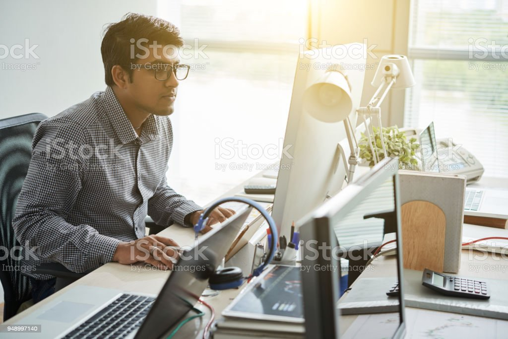 Checking programming code stock photo