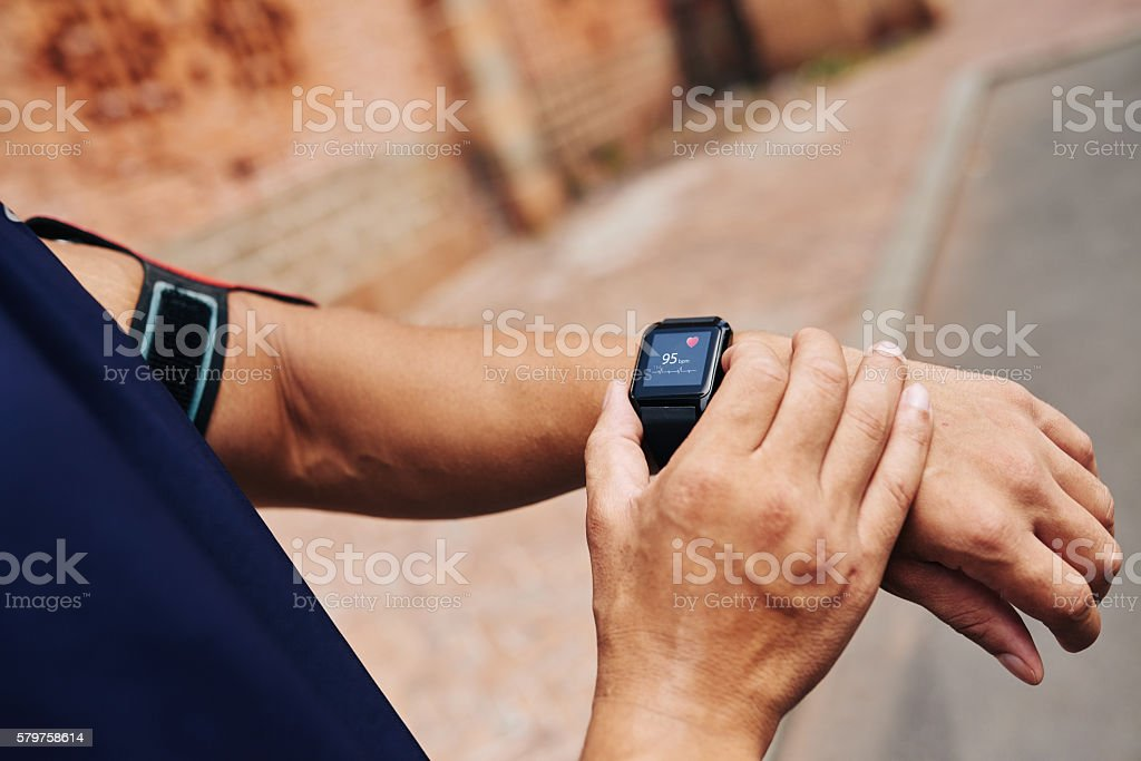 Checking pulse stock photo
