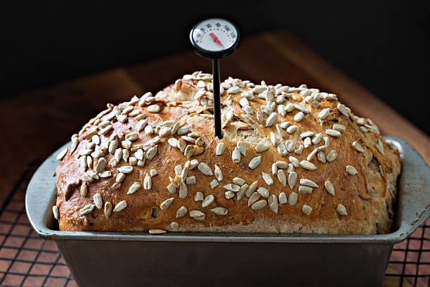 Checking Temperature Baked Bread stock photo