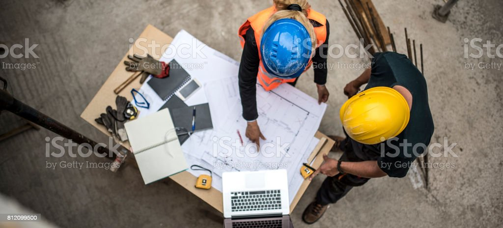 Checking the blueprints stock photo