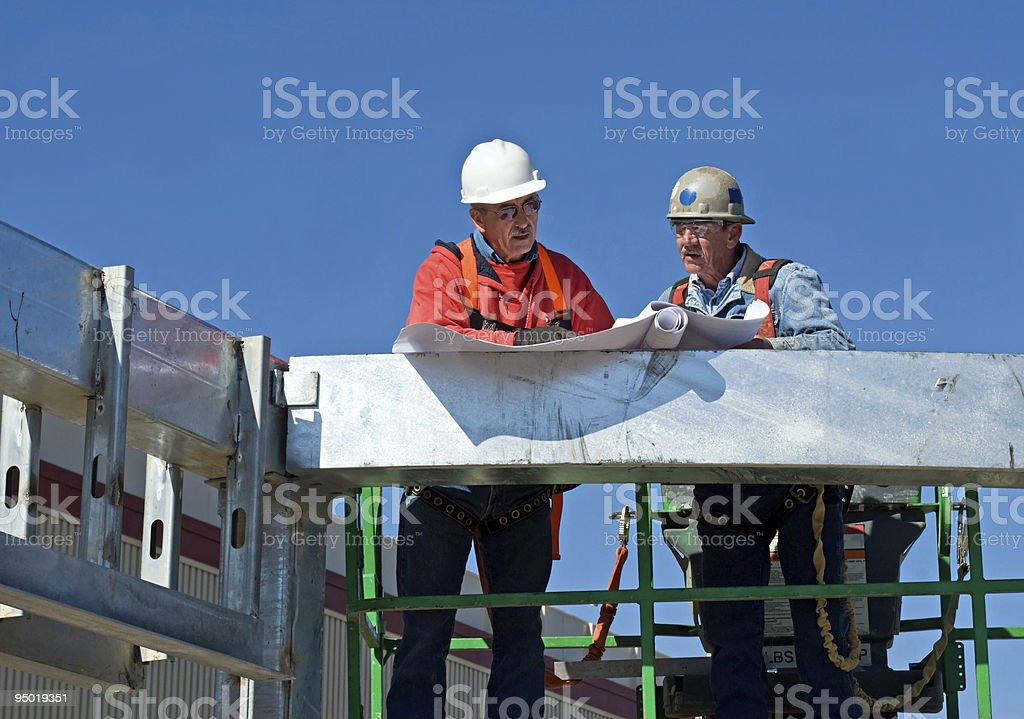 Checking the Blueprints royalty-free stock photo