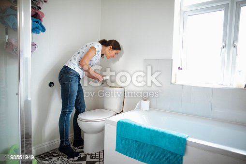 A Side View Of A Woman Looking Into The Lavatory To See What The Problem Might Be.