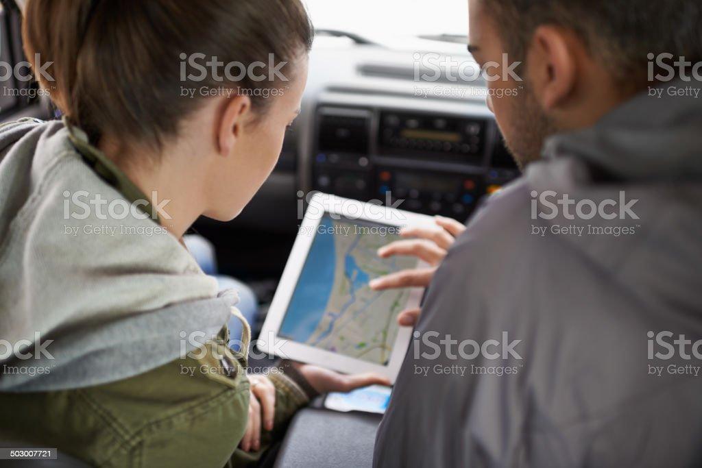 Checking the coordinates stock photo