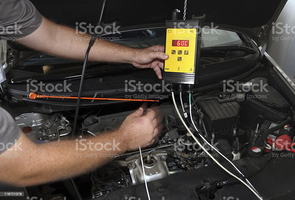 Checking the engine car royalty-free stock photo