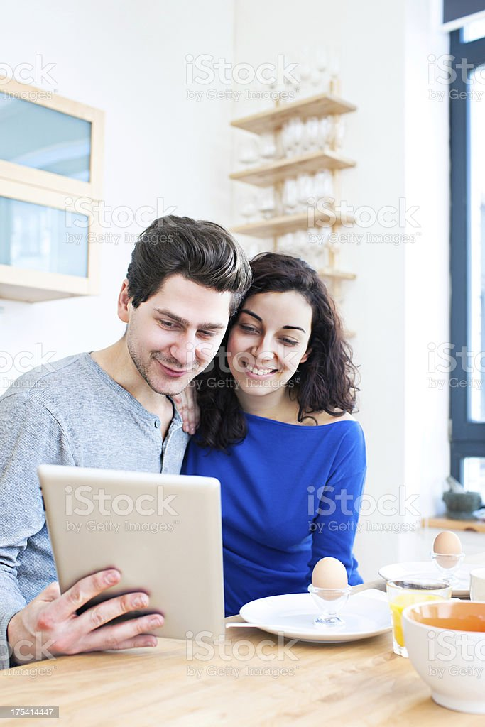 Checking the news royalty-free stock photo