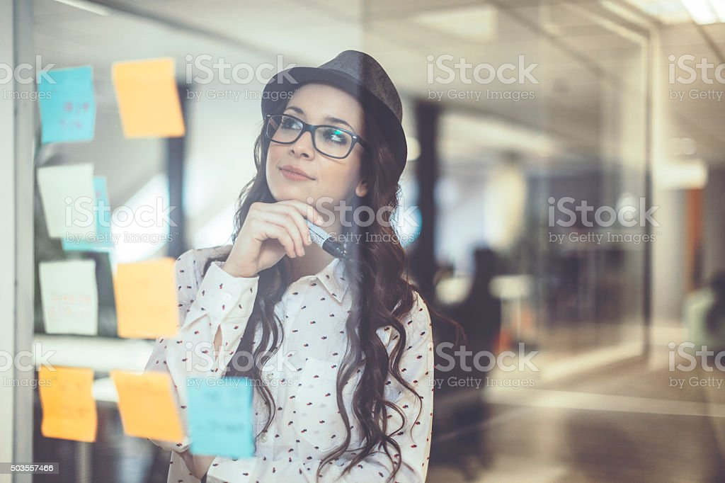 Checking the next task stock photo
