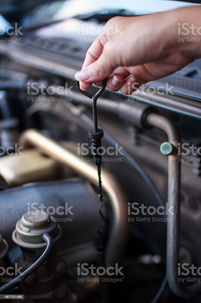 Checking the Oil royalty-free stock photo