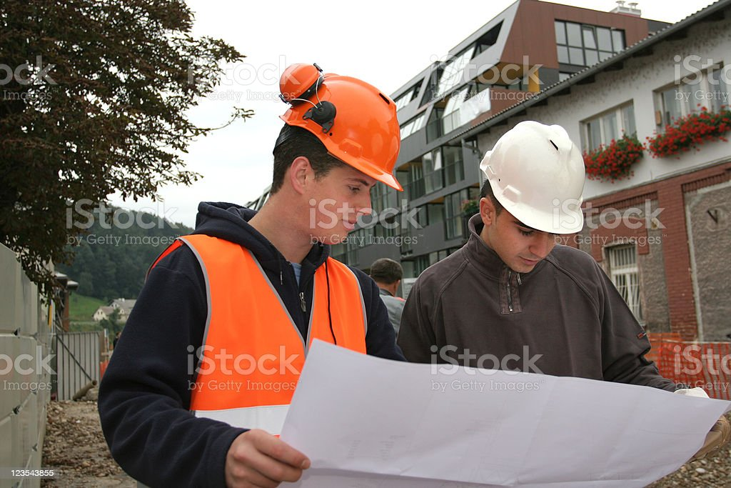Checking the plan stock photo