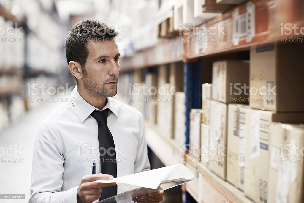 Checking the stock volumes royalty-free stock photo