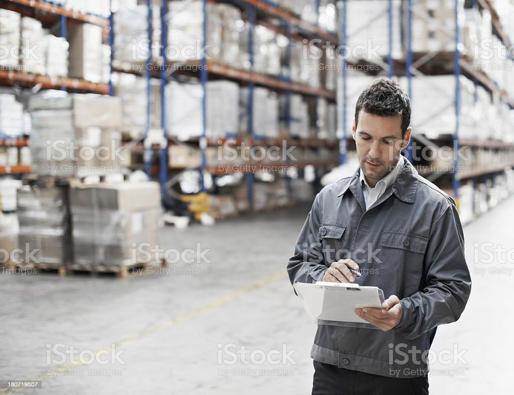 Checking the waybill one more time royalty-free stock photo