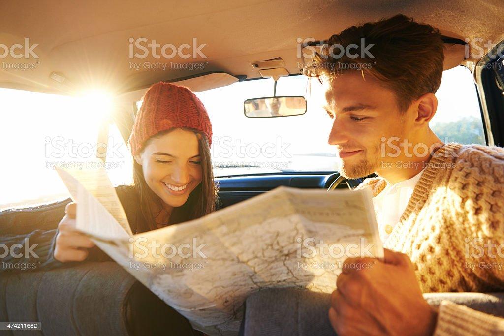 Checking their route stock photo