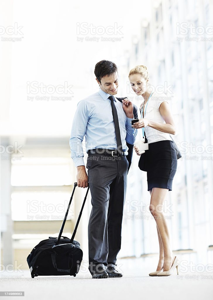 Checking their travel information royalty-free stock photo