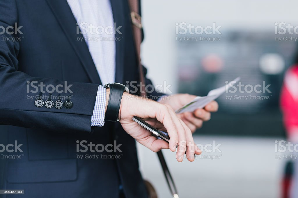 Checking time stock photo