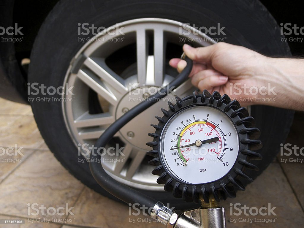 Checking Tire Pressure royalty-free stock photo