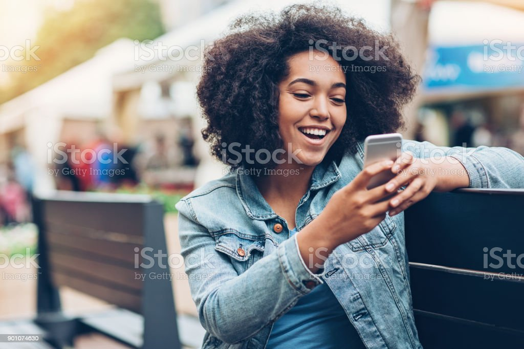 Checking what's on social media stock photo