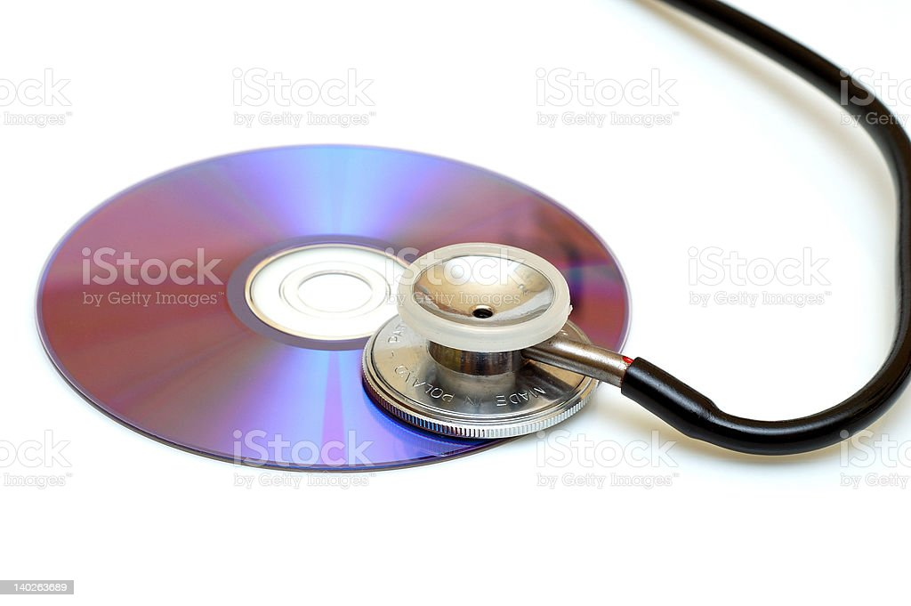 Checkinh the DVD/CD content royalty-free stock photo
