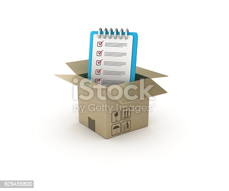 537516368 istock photo Checklist and Open CardBoard Box  - 3D Rendering 629455800