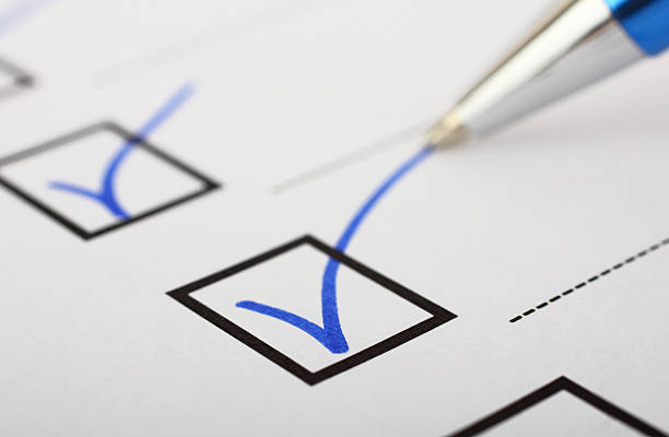 Checklist and pen stock photo