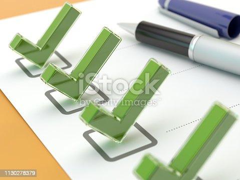 istock Checklist concept v2, 3D illustration 1130278379
