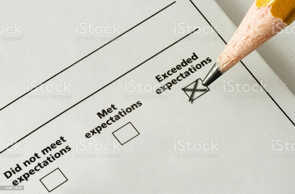 checklist - exceeded expectations stock photo