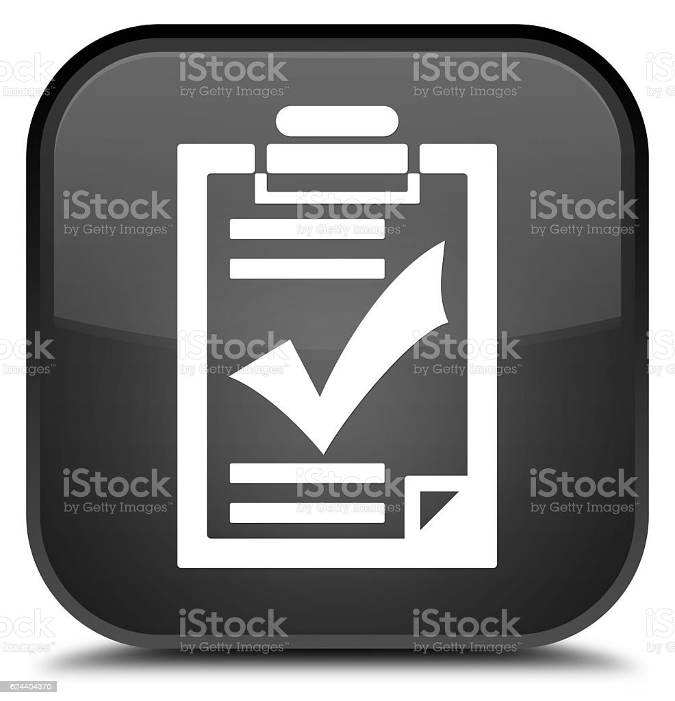 Checklist icon special black square button stock photo