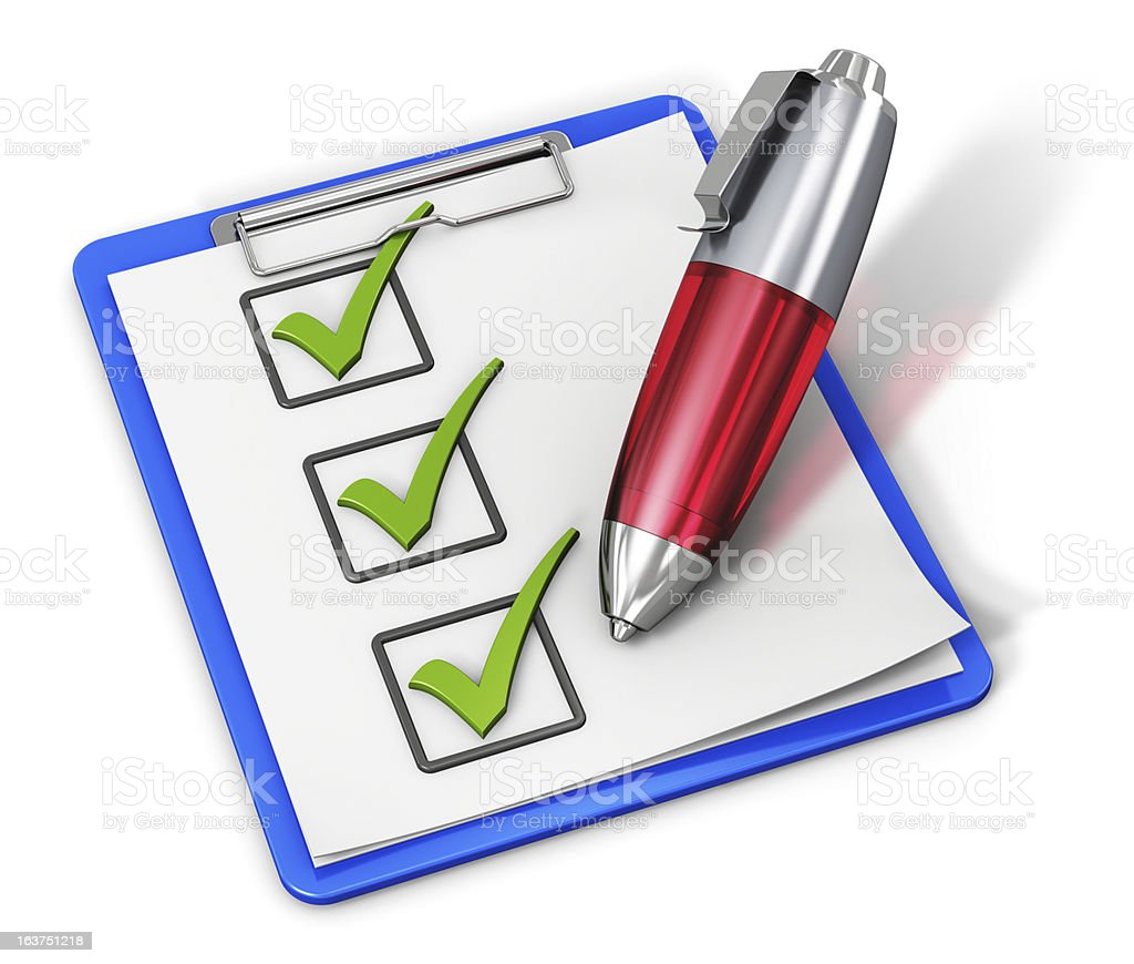 Checklist on clipboard and pen royalty-free stock photo