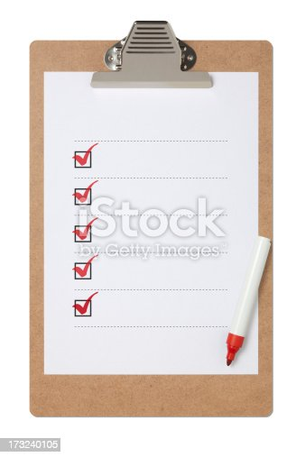 istock Checklist On Clipboard With Clipping Path 173240105
