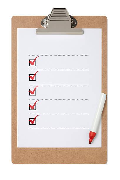 checklist on clipboard with clipping path - list stock photos and pictures